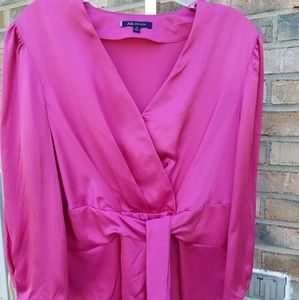 Anne Klein Silk Wrap Top with puffed sleeves Sz 10